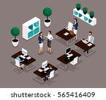 trend isometric people working... | Shutterstock .eps vector #565416409