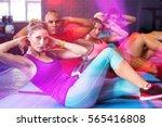 portrait of friends with hands... | Shutterstock . vector #565416808