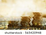 double exposure of city and... | Shutterstock . vector #565420948