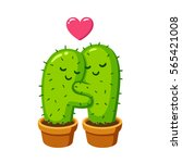 cactus hug drawing. cute... | Shutterstock . vector #565421008