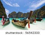 Long Tail Boat At Maya Bay  Phi ...