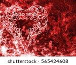 red heart lovely grunge... | Shutterstock . vector #565424608