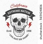 grunge art of skull with ribbon ... | Shutterstock .eps vector #565424806
