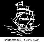 ship white outline on a black... | Shutterstock .eps vector #565437634
