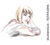 watercolor fashion illustration.... | Shutterstock . vector #565441846