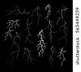 set of different black cracks... | Shutterstock .eps vector #565449259
