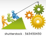 men putting together a series... | Shutterstock .eps vector #565450450