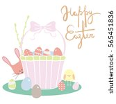 set of easter items with hand... | Shutterstock .eps vector #565451836