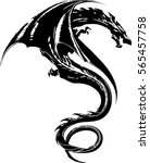 tribal dragon tattoo design... | Shutterstock .eps vector #565457758
