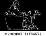 vector sketch of a man at the... | Shutterstock .eps vector #565460338