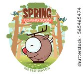 spring greeting card with funny ... | Shutterstock .eps vector #565465474