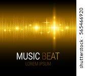 music beat. golden lights... | Shutterstock .eps vector #565466920