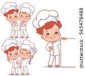 cartoon kids as little chefs.... | Shutterstock .eps vector #565478488