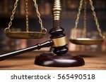 judge gavel and scales of... | Shutterstock . vector #565490518
