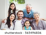 portrait of happy family with... | Shutterstock . vector #565496836