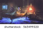 boy reading tablet in bedroom... | Shutterstock . vector #565499320