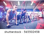 fitness class in plank position ... | Shutterstock . vector #565502458