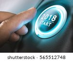 hand pressing a 2018 start... | Shutterstock . vector #565512748