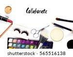 makeup accessories with... | Shutterstock . vector #565516138