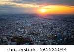 sunset on the top of cityscape | Shutterstock . vector #565535044