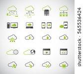 cloud computing icon set.... | Shutterstock .eps vector #565536424
