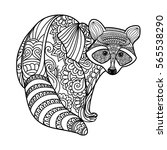 raccoon. black white hand drawn ... | Shutterstock .eps vector #565538290