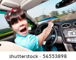 women at the wheel the car - stock photo