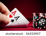 stack of chips and two aces | Shutterstock . vector #56553907