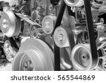 Close up shot of powerful diesel engine. - stock photo