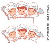 cartoon kids as little chefs.... | Shutterstock .eps vector #565549603
