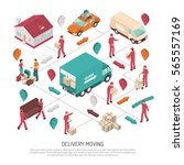 colored isometric delivery... | Shutterstock .eps vector #565557169