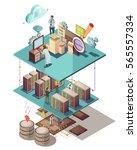 data analysis isometric concept ... | Shutterstock .eps vector #565557334