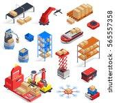 automatic logistics warehouse...   Shutterstock .eps vector #565557358
