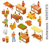 marketplace isometric set of... | Shutterstock .eps vector #565557373