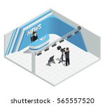 isometric interior composition... | Shutterstock .eps vector #565557520