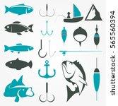 fishing vector shapes set | Shutterstock .eps vector #565560394