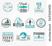 fishing badge vector logos set | Shutterstock .eps vector #565560400