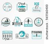 fishing badge vector logos set | Shutterstock .eps vector #565560400