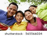 family with two children ... | Shutterstock . vector #565566034