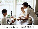 two women in restaurant ...   Shutterstock . vector #565568470