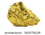 Big Golden Nugget Isolated On...