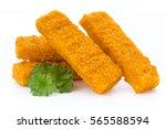 fish fingers on the white... | Shutterstock . vector #565588594