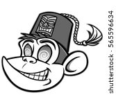tiki lounge monkey illustration | Shutterstock .eps vector #565596634