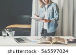 front view. young business... | Shutterstock . vector #565597024