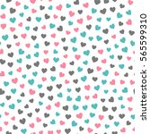 seamless hearts pattern with... | Shutterstock .eps vector #565599310