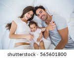 high angle view of happy family ... | Shutterstock . vector #565601800