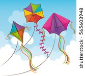 kite flying in the sky | Shutterstock .eps vector #565603948