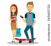 young people group avatars... | Shutterstock .eps vector #565605733