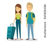 travelers group with suitcases... | Shutterstock .eps vector #565606186