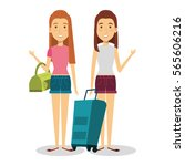 travelers group with suitcases... | Shutterstock .eps vector #565606216